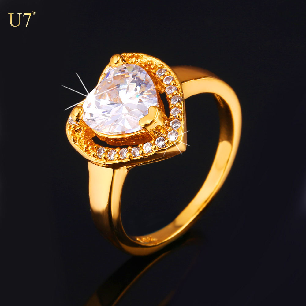 U7 Engagement Rings For Women Wedding Wholesale 18k Gold Plated AAA Cubic Zirconia Love Heart Ring diamond Wedding Bands