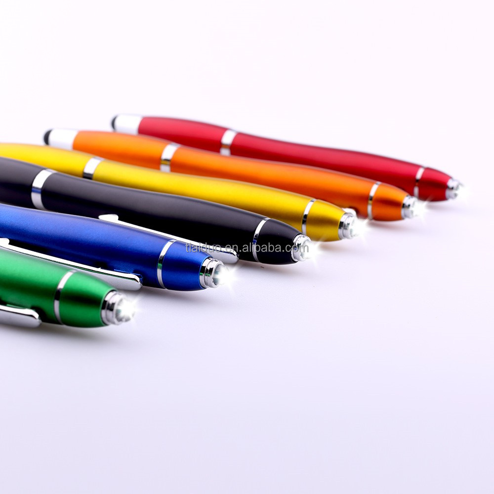 small quantity order top quality logo shape handmade stylus light ball pen with LED ball-point pen