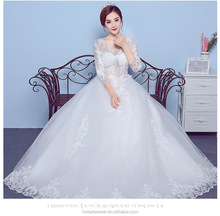 1005 Korean Long Sleeve Wedding Dress Bridal Gown