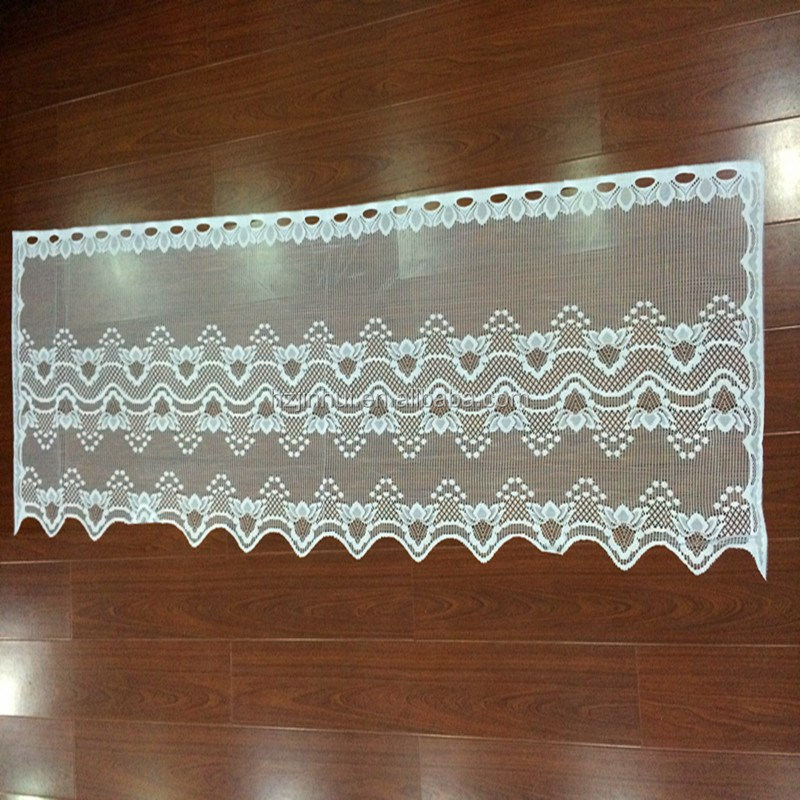 100% Polyester Lace Kitchen Curtain Low MOQ Promotion Discount Kitchen Curtain White