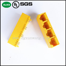 1X4 Ports plastic case rj45 /Unshield Side Entry Female RJ45 8P8C Connector modular PCB Jack