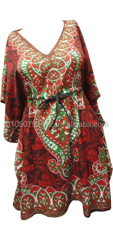 RTCF-2 100 % Rayon Fabric Breathable 2014 New Design Ladies Caftan / Kaftans Short Night Dress From Jaipur Mix Lot