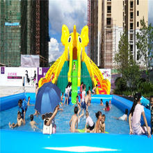 Giant inflatable commercial water Dumbo slide with pool, mobile amusement land water park for sale