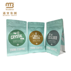 Resealable Ziplock Bean Packing Custom Printing Flat Box Bottom Coffee Packaging Bag Wholesale With Valve