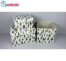 Cute leaves pattern design cheap non-woven fabric storage bins folding cardboard storage box with decor handles
