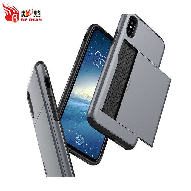 Card stand phone cover case for iphone x 8, for samsung galaxy note 8 hybrid smart phone case