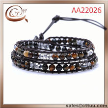 Hot selling crystal and tiger eye two wrap beaded bracelet