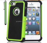 2015 Factory Price High Quality PC+Silicon Cell Phone Rugged Case with Football Lines for iphone 5, Mobile Phone Accessory