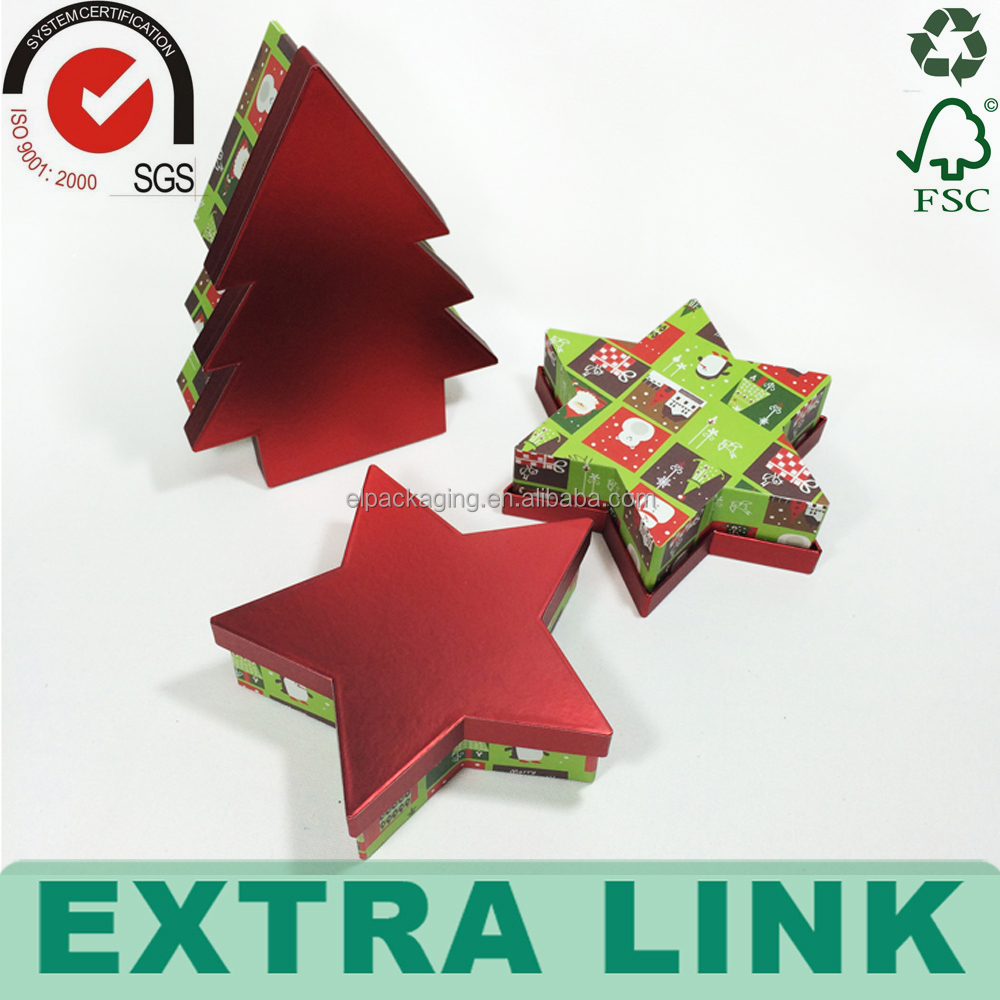paper Xmas baby chocolate christmas card paper Christmas tree star gift box set