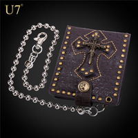 U7 Brown tough man genuine leather chain wallet with skull cross teenager wallet male