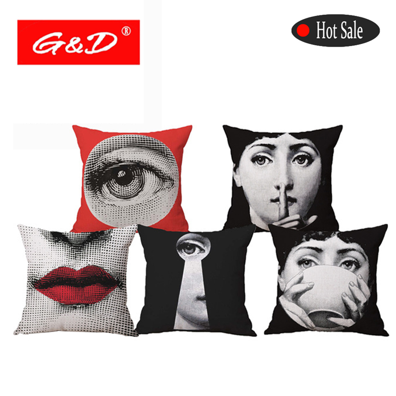 G&<strong>D</strong> Retro Fornasetti Art Master Throw Pillow Cover Home Decor Sofa Car Seat Decorative Plain Cushion cover Linen