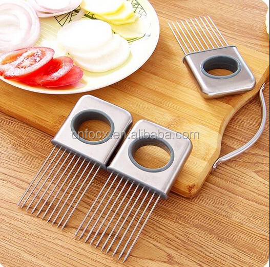 Kitchen Gadget Stainless Steel Onion Holder Slicer / Vegetable tools Tomato Cutter / onion slicer cutter