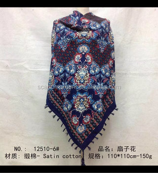 square scarf with fringe fashion scarf 20170818 110*110cm SATIN COTTON scarf