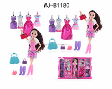 Fashion doll set dress up game 5 dress 3 shoes 3 bag best gift for kid prety girl