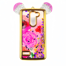Custom Liquid Print Pattern Electroplating TPU Mickey Ears Rhinestone Cell Phone Cases For LG Ray Zone X180 Glitter 2017