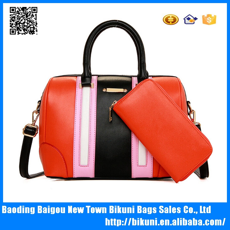 Alibaba hot latest new design bright color European fashion long strap shoulder bags tote bags pu bags set with purse for women