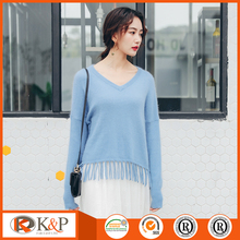 Beautiful casual woman sweater pullover with nylon/Angora