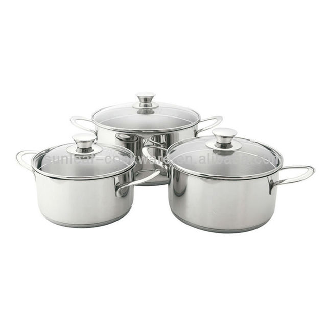 Stainless steel casserole stockpot removable handle cookware set