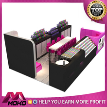 Nail bar luxury indoor furniture 3d modern manicure table station pedicure nail kiosk design