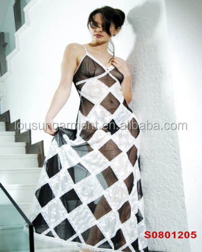 classic grid printing sleeveless elegant women daily casual long dress