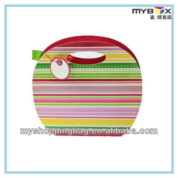 Colorful Stripe rotundity art paper bag gift bag with hands
