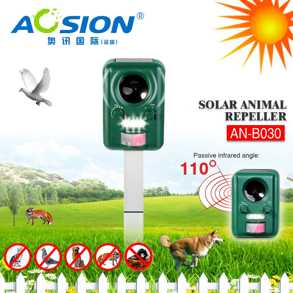 Aosion Solar Powered Ultrasonic and Flashing LED Lights Outdoor Animal& Pest Repeller Activated with Motion