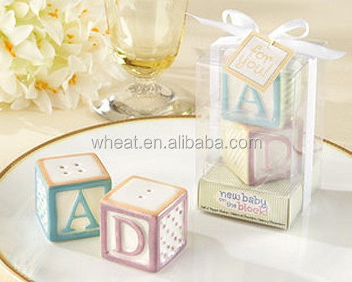 New Baby on the Block Ceramic Baby Blocks Salt and Pepper Shakers