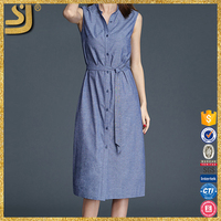Clothing manufacturer ladies linen long shirt casual dress