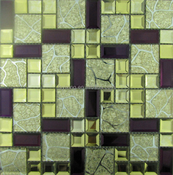 2017 New Tokyo style hot sale beveled 5 edges mirror glass mosaic tile series for wall decoration in wholesale price