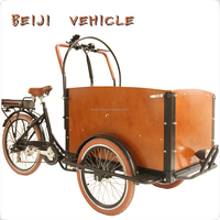 CE worthy bakfiets pedal assisted three wheel cargo bicycle tricycle with cabin