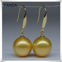 Golden south sea pearl earrings/simple south sea pearl earring