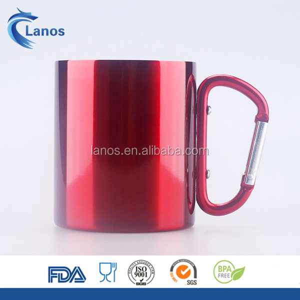 Custom color stainless steel coffee mug camping outdoor portable cup with handle