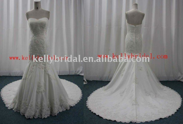 Lace & Satin Wedding Dress in Stock KB10217