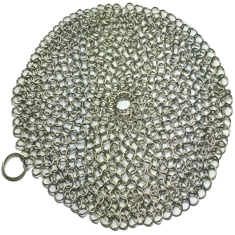 Best XL Heavy Duty Chainmail Scrubber Stainless Steel 7x7 Round