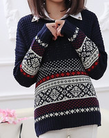 Snow pattern loose sweater