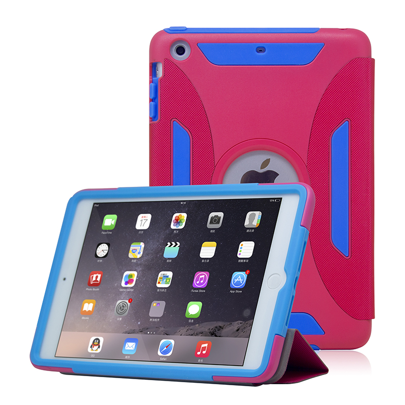 2016 New Design Hybrid Tablets Case with Stand for iPad Mini 2 ,PC+PU+Silcone Protective Case