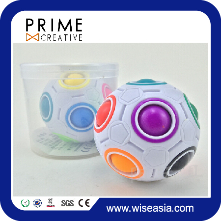Fun Spherical Magic Cube 2.5 inches Intelligence Rainbow Magic Ball Cube 3D Puzzle Football Design Fidget Toy