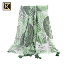 New design supersoft Leaves summer tassel beach lady scarf