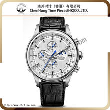 Fashion wrist mens watch excellence quartz band genuine leather 316l stainless steel case