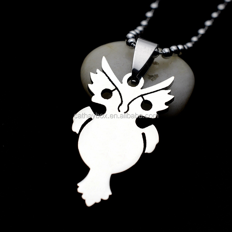 Silver Tone Stainless Steel High Polished Nightowl Owl Charm Pendant Necklace With Chain 60CM <strong>01</strong>