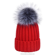Red Christmas hat with faux fox fur pom pom beanies knit winter hats women cap custom logo 18B