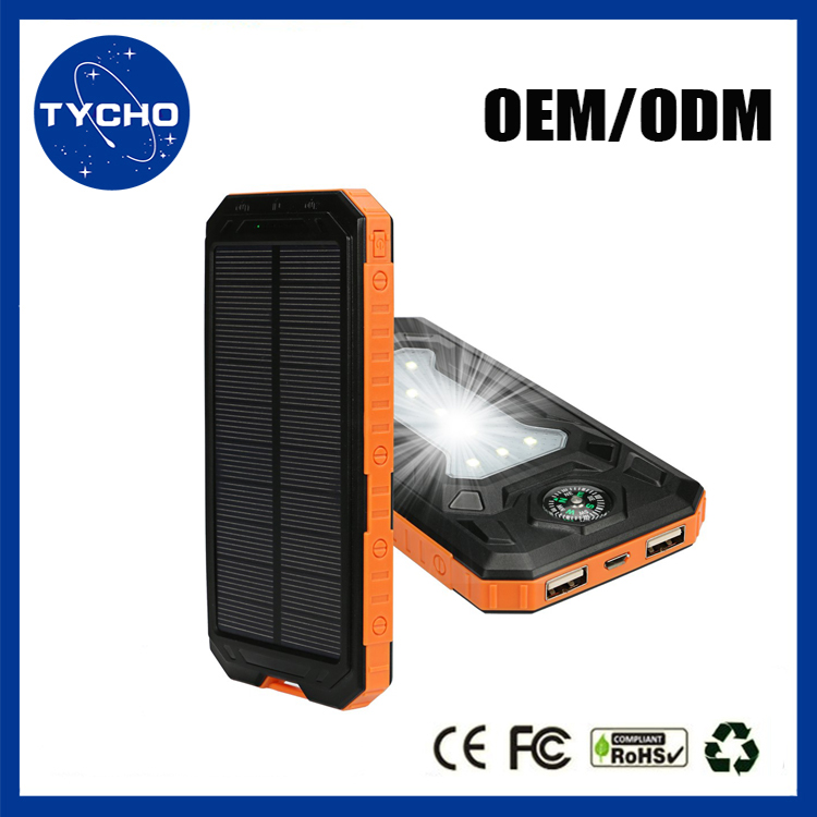 2017 New Waterproof Solar Power Bank Mobile Charger With LED Camping Light Best Quality Battery Charger Free Sample