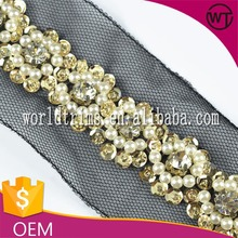 Hot sell sewing on black mesh pearl crystal embroidery sequin lace trim for bridal