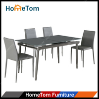 Modern Home Furniture Glass Top Dining Table Extendable for Sale