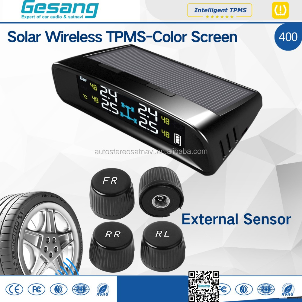 External Tire Pressure Monitor System solar wireless universal TPMS with color screen