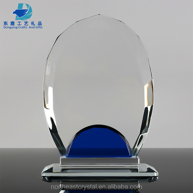 New Style Oval Shape Blank Glass Award Plaque for Custom Text Engraving