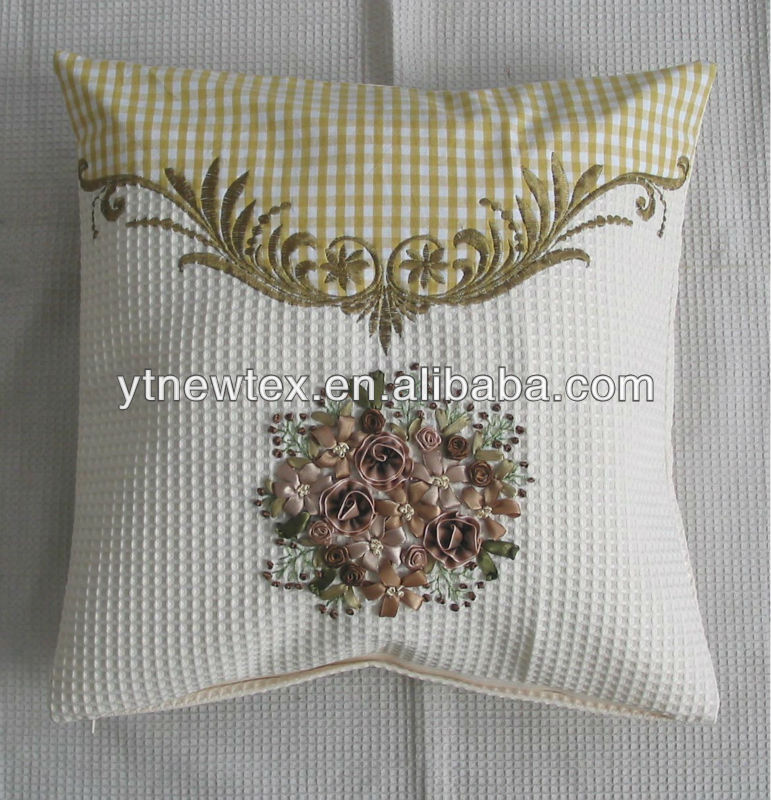 cushion cover hand made ribbon embroidery design