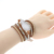 Natural Jasper Stone Bead Braided Long Bracelet , Multi-layer Wrist Band