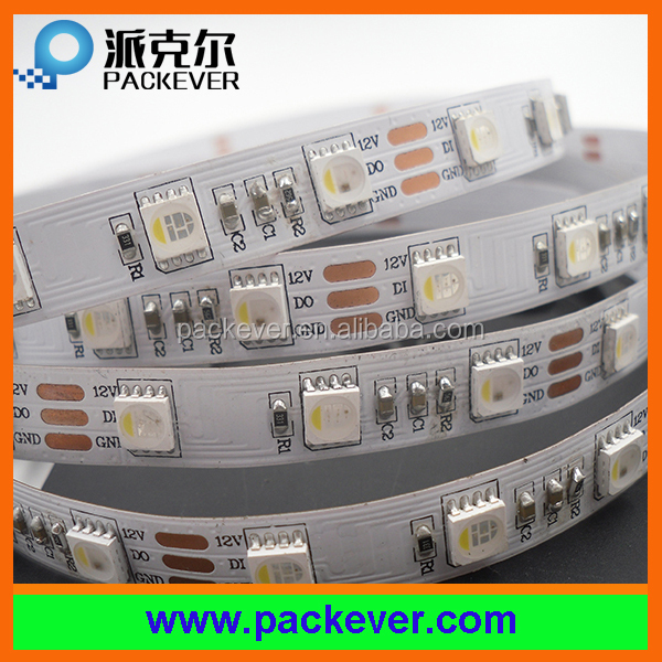 12V rgbw digital led strip 60led/m 20pixels/m, white/black pcb color pcb, factory price