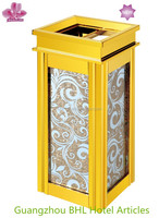 Colorful glass recycle bin decorative dustbin with ashtray GPX-2P(4 color )